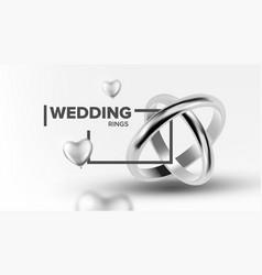 platinum jewelery wedding rings banner vector image