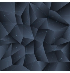 Polygon black crystal background with connecting vector