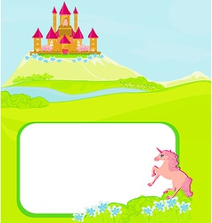 Portrait frame with fairy tale castle and vector