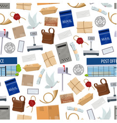 post service seamless pattern with big parcels vector image