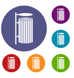 Public trash can icons set vector