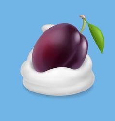purple plum in yogurt ice cream or whipped cream vector image