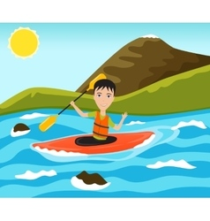 Rafting and kayaking sport vector