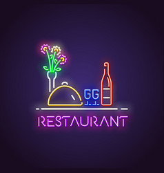 restaurant neon light vector image