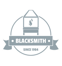 Retro blacksmith logo simple gray style vector