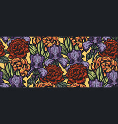 seamless color background with flowers vector image