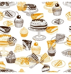 Seamless patten with party pastry and vector