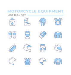 set color line icons motorcycle equipment vector image