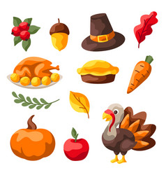 set happy thanksgiving day items vector image