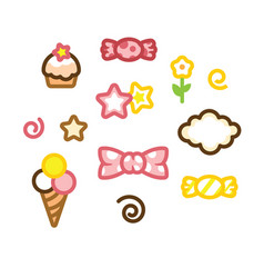 Set icon candy ice cream cake star vector