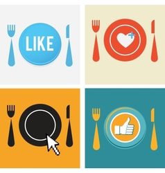 Set of four icons for food and restaurant webs vector