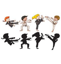 Set of karate kids vector