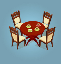 set of the isometric cartoon table and four chairs vector image