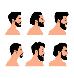 side bearded face collection vector image