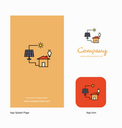 solar panel company logo app icon and splash page vector image