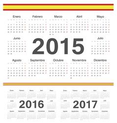 Spanish circle calendars 2015 2016 2017 vector image