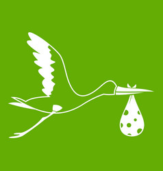 stork carrying icon green vector image