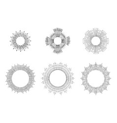 sun rays linear drawings halos set vector image