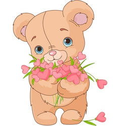 Teddy bear giving hearts bouquet vector image