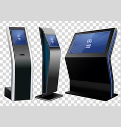 Three promotional interactive information kiosk vector