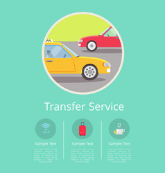 Transfer service information on internet page vector