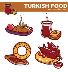 turkish food collection with delicious hot vector image