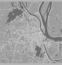 Urban city map phnom penh poster grayscale vector