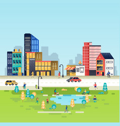 Urban landscape with buildings vector