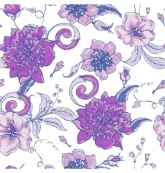 Vintage botanical seamless pattern with blooming vector