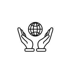 web line icon globe in hand black on white vector image