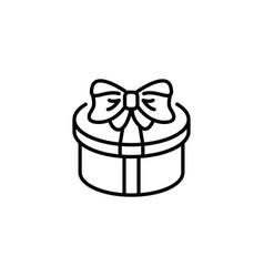 web line icon present round box gift vector image