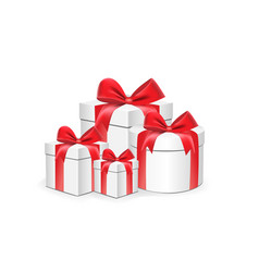 white gift boxes different shapes with red vector image