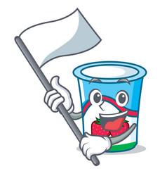 With flag yogurt mascot cartoon style vector