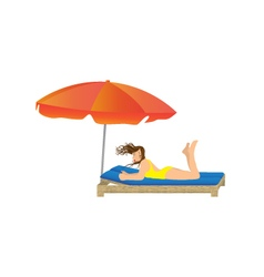 Woman lying under a beach umbrella vector
