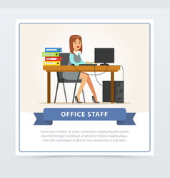 woman office worker character working at computer vector image