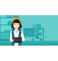 Woman using tablet computer vector image