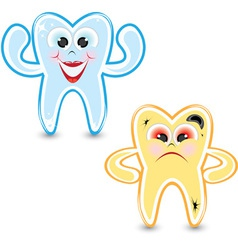 Healthy and bad tooth vector