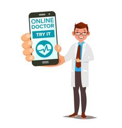 online doctor mobile service man holding vector image