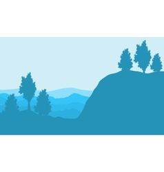 Silhouette of cliff and hill backgrounds landscape vector image