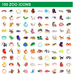 100 zoo icons set cartoon style vector image