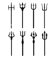 black silhouettes of tridents vector image