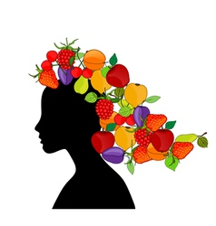 girl with fruit hair vector image
