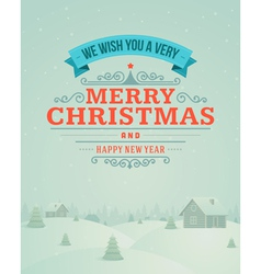 Merry Christmas greeting card ornament vector image vector image