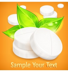 Pills natural on yellow vector image