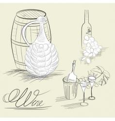 wine sketch vector image