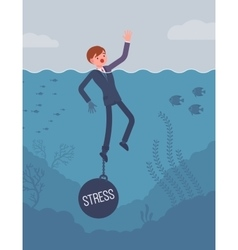 Businessman drowning chained with a weight Stress vector image
