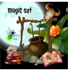 Magic set of wizard vector image