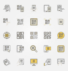 Qr code colorful icons set - code scanning vector