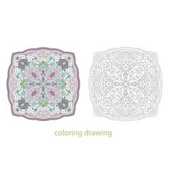coloring drawing mandala template vector image vector image
