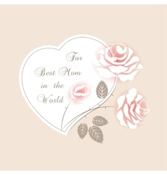Delicate pink card with roses vector image vector image
